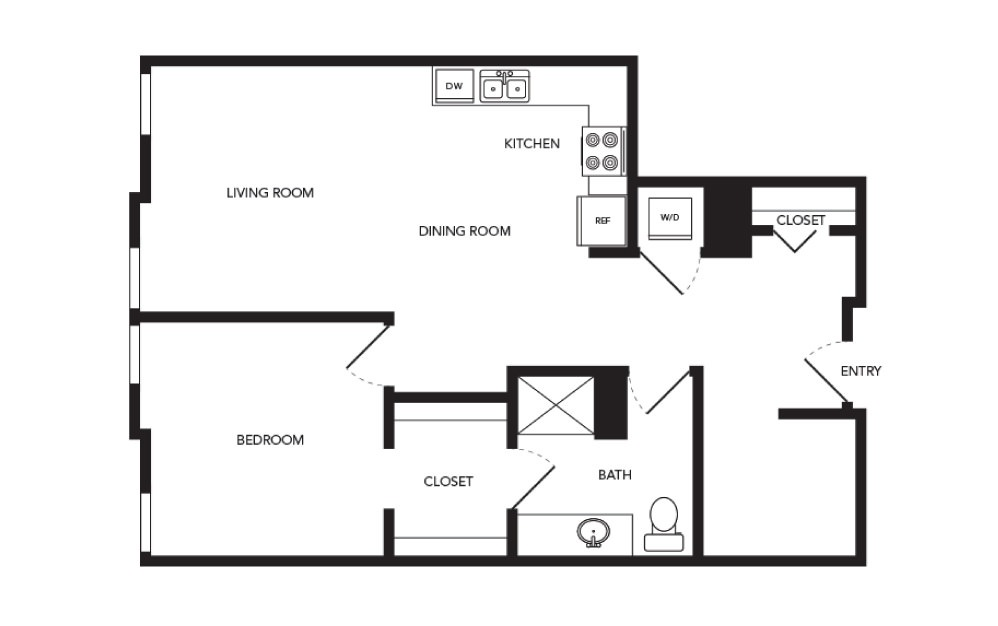 TN-A23 - 1 bedroom floorplan layout with 1 bath and 869 square feet.