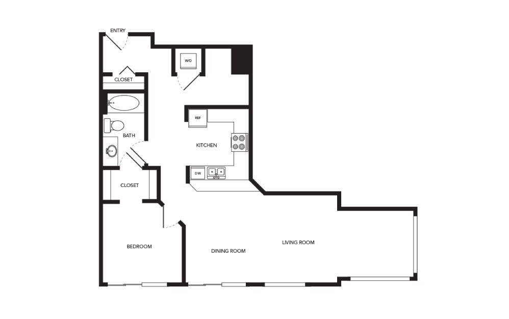 TN-A25 - 1 bedroom floorplan layout with 1 bath and 969 square feet.