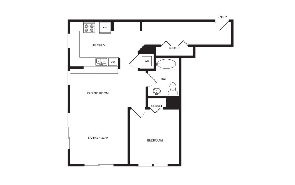 TN-A26 - 1 bedroom floorplan layout with 1 bath and 878 square feet.
