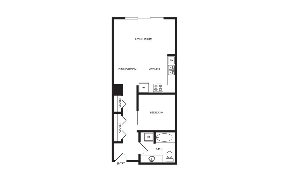 TN-A3 - 1 bedroom floorplan layout with 1 bath and 621 square feet.