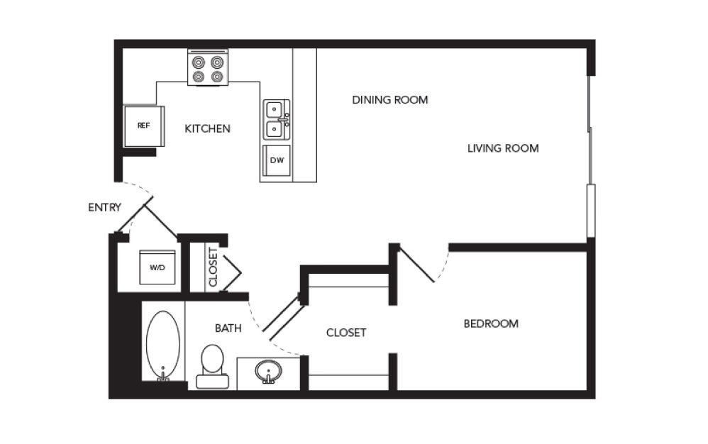 TN-A4 - 1 bedroom floorplan layout with 1 bath and 646 square feet.