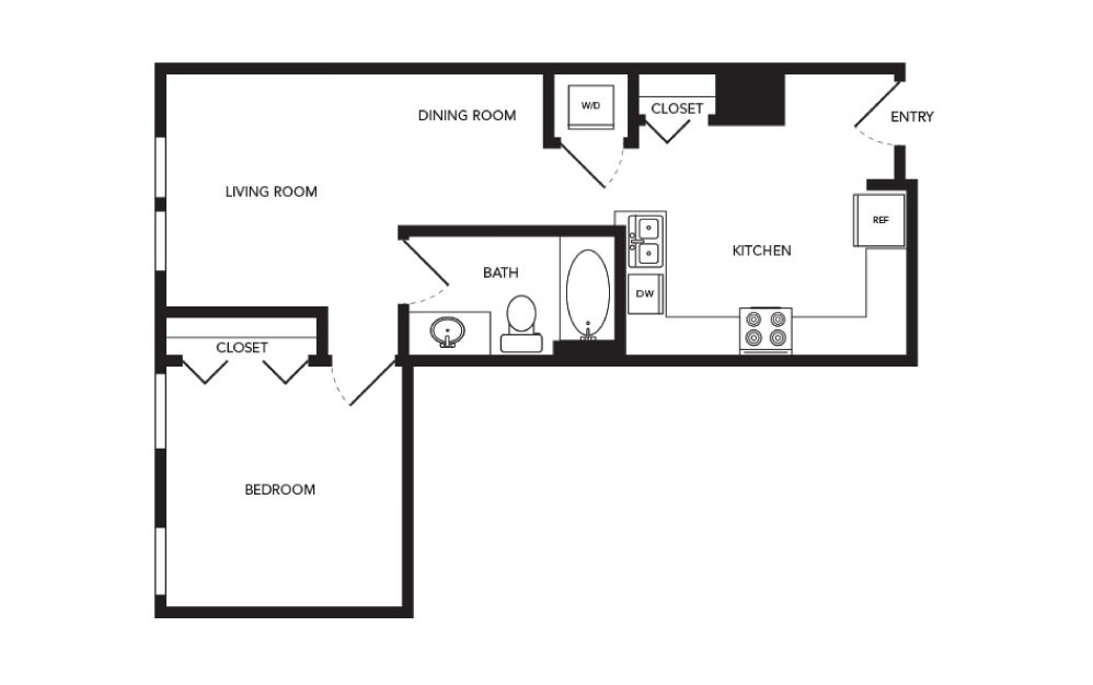 TN-A5 - 1 bedroom floorplan layout with 1 bath and 656 square feet.