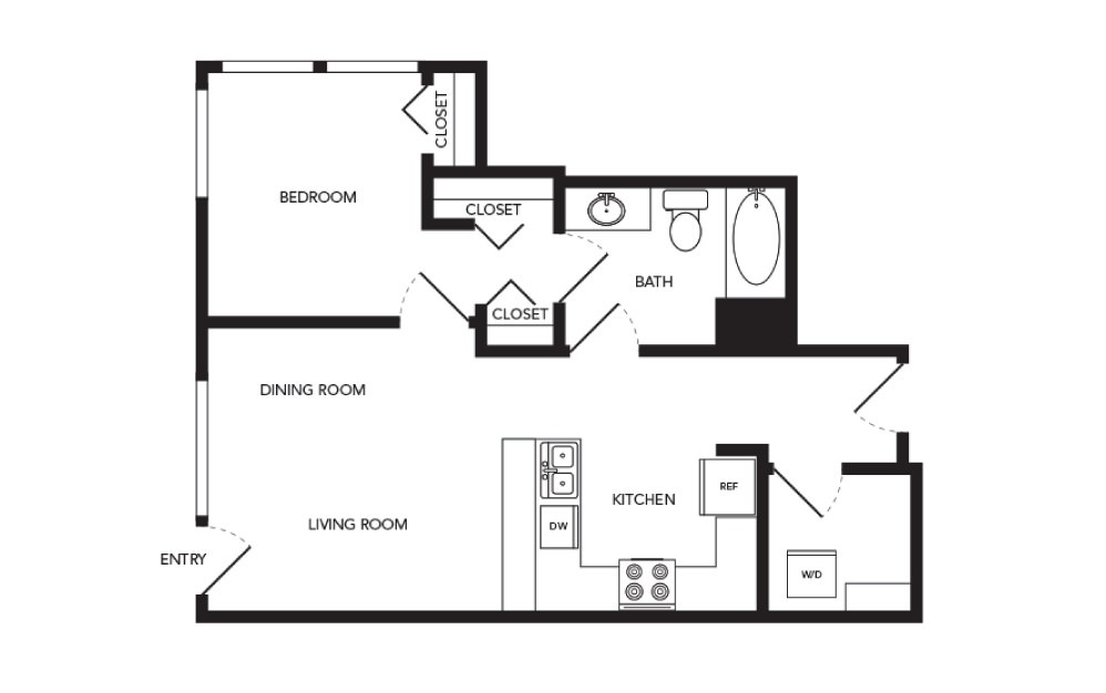 TN-A6 - 1 bedroom floorplan layout with 1 bath and 653 square feet.