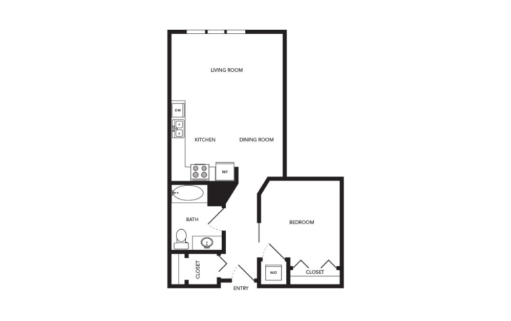 TN-A7 - 1 bedroom floorplan layout with 1 bath and 678 square feet.