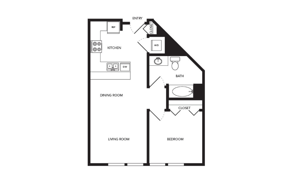 TN-A8 - 1 bedroom floorplan layout with 1 bath and 676 square feet.