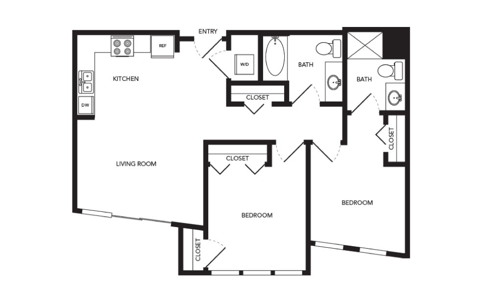 TN-B1 - 2 bedroom floorplan layout with 2 baths and 898 square feet.