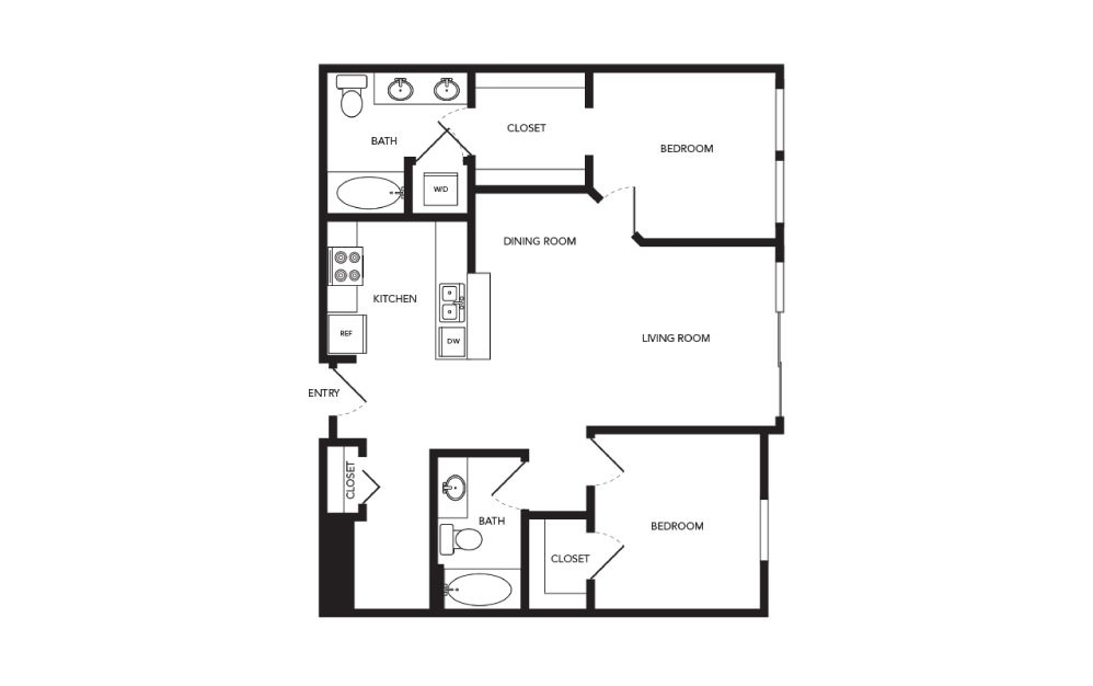 TN-B11 - 2 bedroom floorplan layout with 2 baths and 1047 square feet.