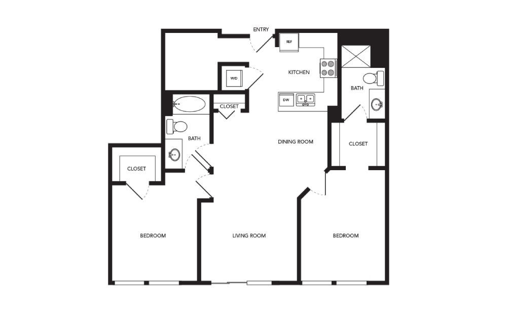 TN-B12 - 2 bedroom floorplan layout with 2 baths and 1143 square feet.