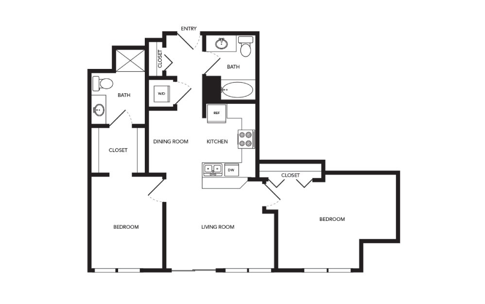 TN-B2.1 - 2 bedroom floorplan layout with 2 baths and 932 square feet.