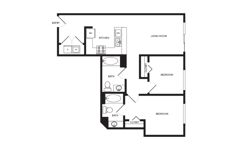 TN-B3 - 2 bedroom floorplan layout with 2 baths and 938 square feet.