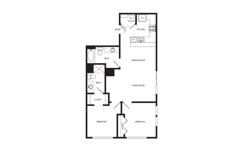 TN-B4 - 2 bedroom floorplan layout with 2 baths and 965 square feet.