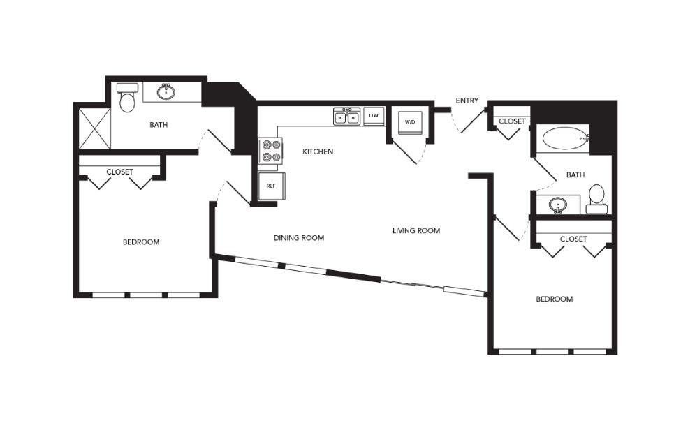 TN-B5 - 2 bedroom floorplan layout with 2 baths and 966 square feet.