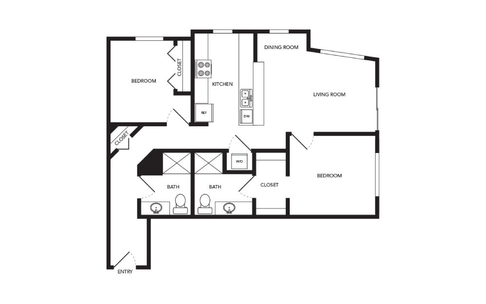 TN-B6 - 2 bedroom floorplan layout with 2 baths and 997 square feet.