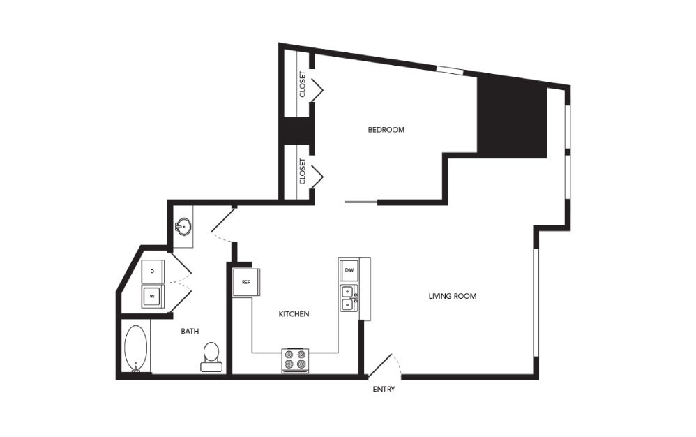 TN-LW1 - 1 bedroom floorplan layout with 1 bath and 922 square feet.