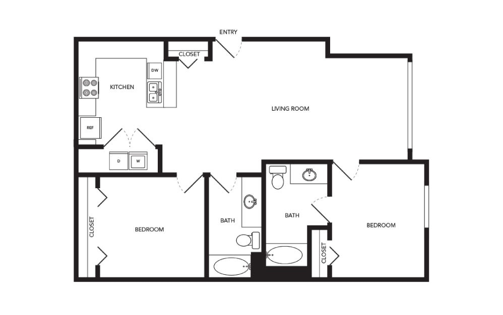 TN-LW2 - 2 bedroom floorplan layout with 2 baths and 1156 square feet.