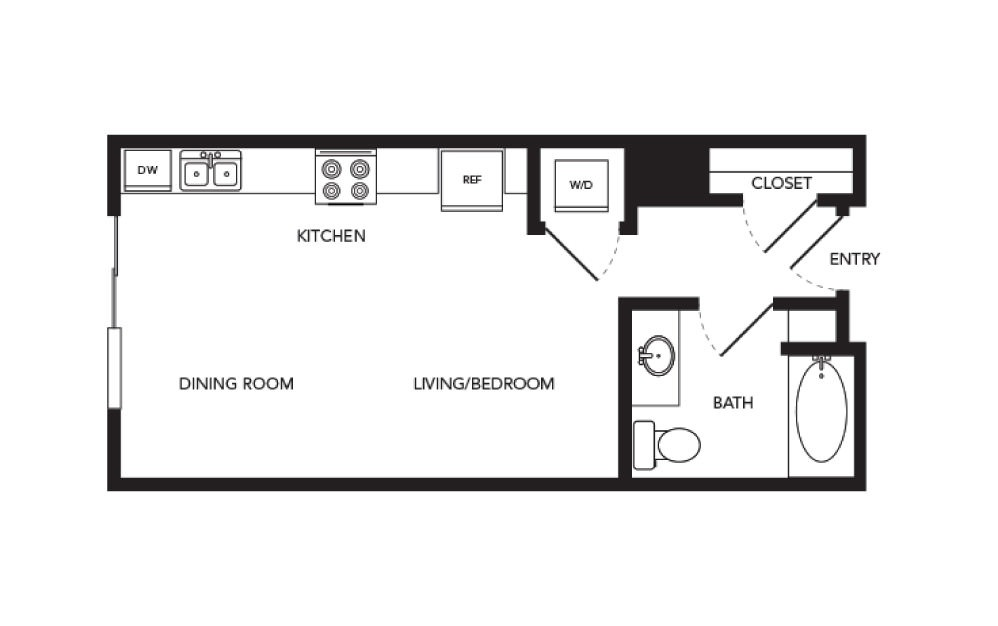 TN-S1 - Studio floorplan layout with 1 bath and 436 square feet.