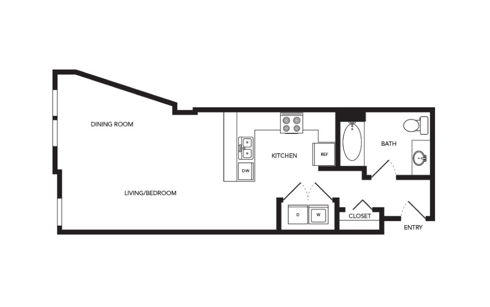 TN-S2 - Studio floorplan layout with 1 bath and 634 square feet.